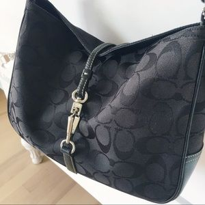Coach Hamptons clip black hobo bag and wallet